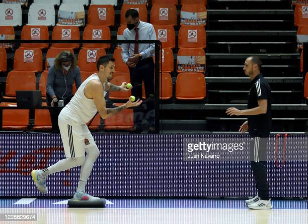 Paul Lacombe, #6 of LDLC Asvel Villeurbanne at the warm up prior to the 2020/2021 Turkish Airlines EuroLeague Regular Season match between Valencia...