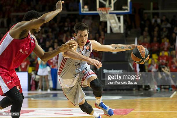 Paul Lacombe, #6 of Strasbourg in action during the Turkish Airlines Euroleague Regular Season Round 6 game between Strasbourg v Crvena Zvezda...