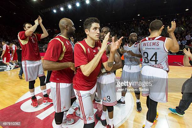 Paul Lacombe, #6 of Strasbourg with his team celebrating during the Turkish Airlines Euroleague Regular Season Round 6 game between Strasbourg v...