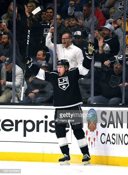 Paul LaDue of the Los Angeles Kings celebrates his goal to take a 43 lead over the St Louis Blues during the third period on way to a 43 Kings win at...