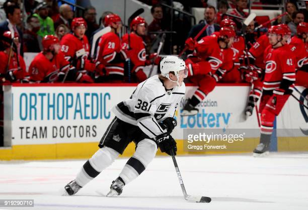 Paul LaDue of the Los Angeles Kings skates with the puck during an NHL game against the Carolina Hurricanes on February 13 2018 at PNC Arena in...