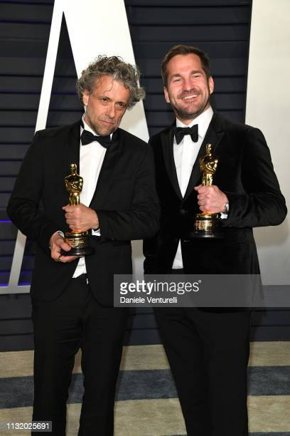 Paul Lambert and Tristan Myles winners of Best Visual Effects award attend 2019 Vanity Fair Oscar Party Hosted By Radhika Jones at Wallis Annenberg...