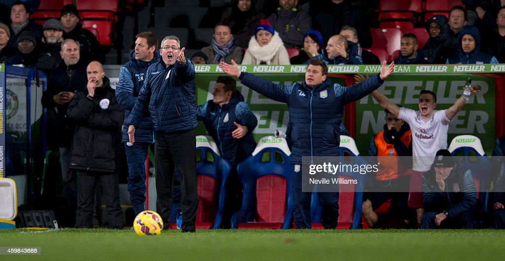 Paul Lambert manager of Aston Villa during the Barclays Premier League match between Crystal Palace and Aston Villa at Selhurst Park on December 02, 2014 in London, England.