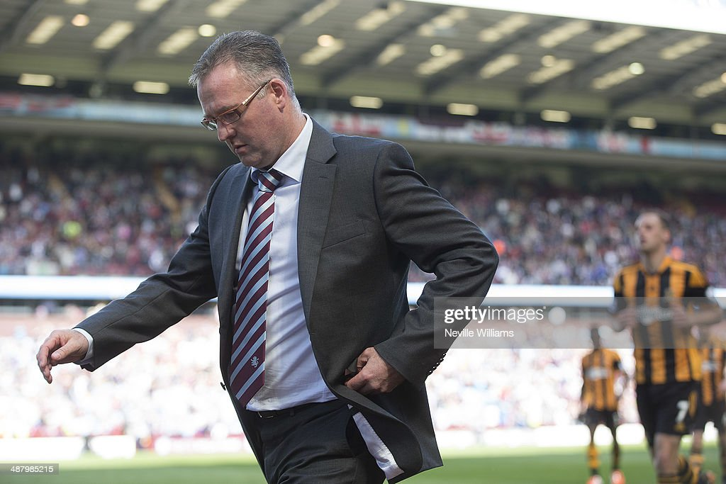 Paul Lambert manager of Aston Villa looks on during the Barclays Premier League match between Aston Villa and Hull City at Villa Park on May 03, 2014 in Birmingham, England.