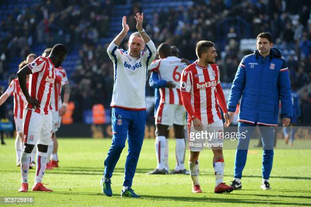 Paul Lambert Manager of Stoke City applauds fans after the Premier League match between Leicester City and Stoke City at The King Power Stadium on...