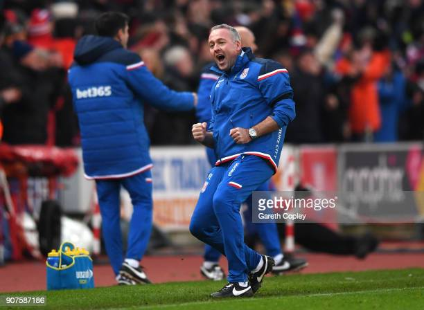 Paul Lambert Manager of Stoke City celebrates during the Premier League match between Stoke City and Huddersfield Town at Bet365 Stadium on January...