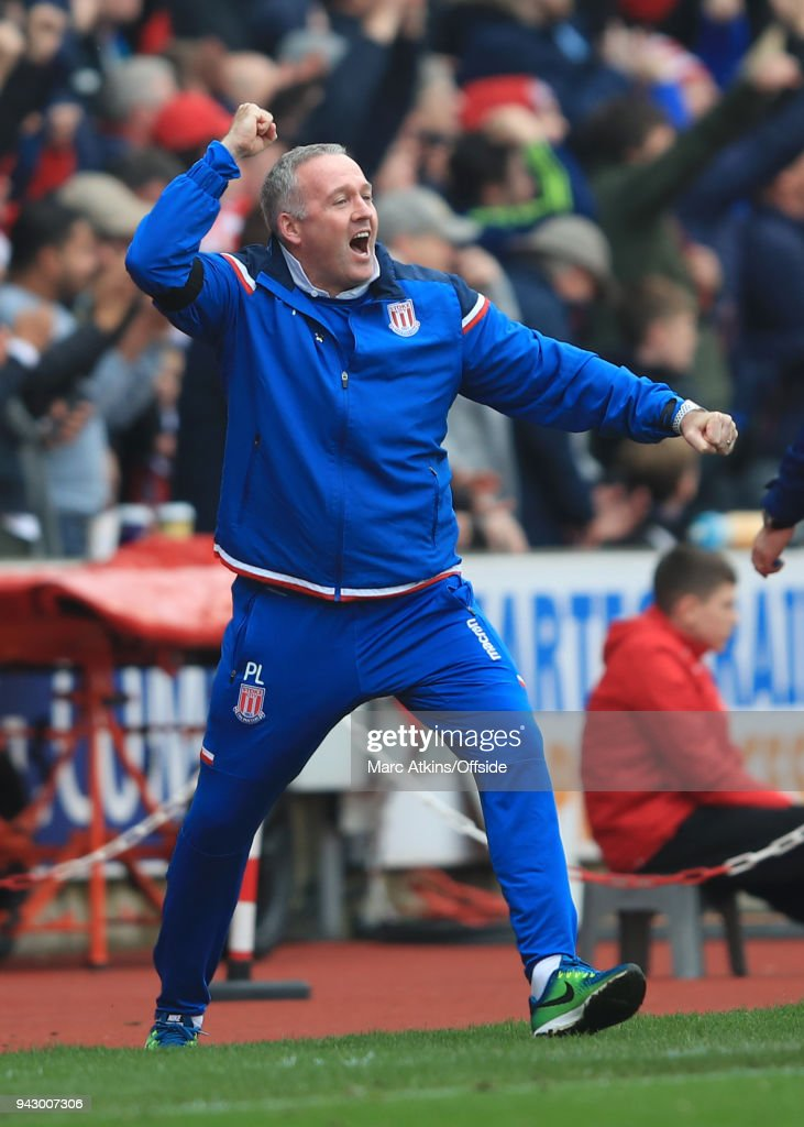 Paul Lambert manager of Stoke City celebrates during the Premier League match between Stoke City and Tottenham Hotspur at Bet365 Stadium on April 7, 2018 in Stoke on Trent, England.