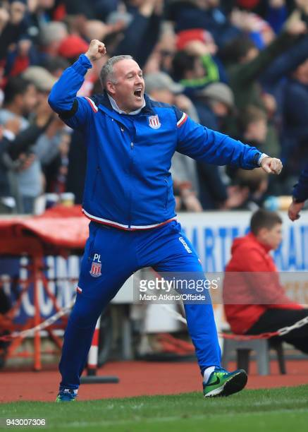 Paul Lambert manager of Stoke City celebrates during the Premier League match between Stoke City and Tottenham Hotspur at Bet365 Stadium on April 7...