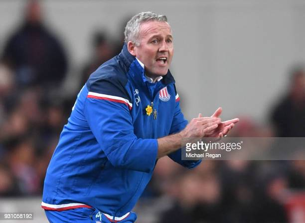 Paul Lambert Manager of Stoke City gives instructions during the Premier League match between Stoke City and Manchester City at Bet365 Stadium on...