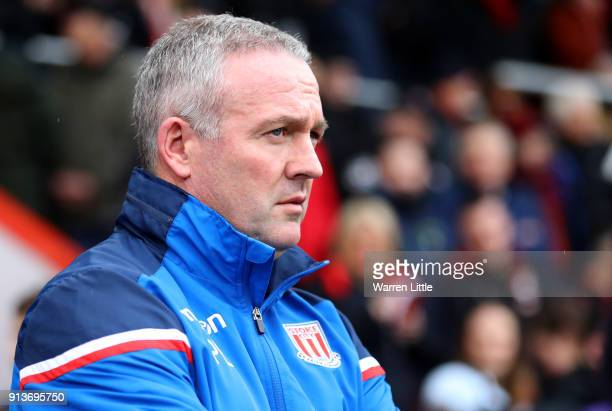 Paul Lambert Manager of Stoke City looks on ahead of the Premier League match between AFC Bournemouth and Stoke City at Vitality Stadium on February...