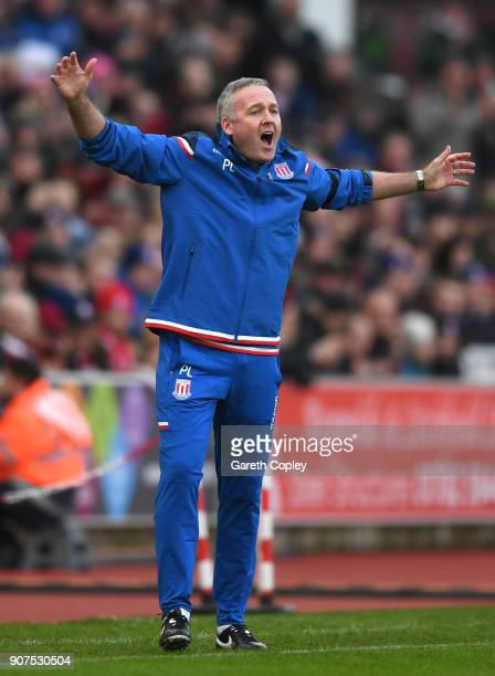Paul Lambert Manager of Stoke City reacts during the Premier League match between Stoke City and Huddersfield Town at Bet365 Stadium on January 20...