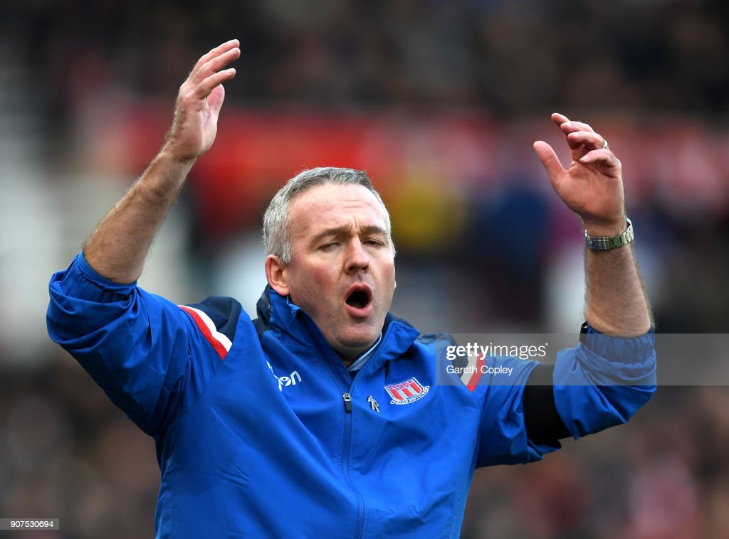Paul Lambert, Manager of Stoke City reacts during the Premier League match between Stoke City and Huddersfield Town at Bet365 Stadium on January 20, 2018 in Stoke on Trent, England.