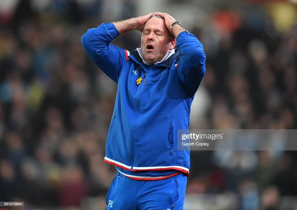 Paul Lambert, Manager of Stoke City reacts during the Premier League match between Stoke City and Manchester City at Bet365 Stadium on March 12, 2018 in Stoke on Trent, England.