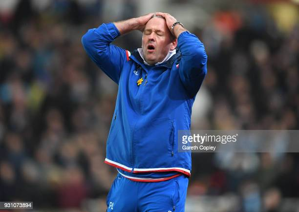 Paul Lambert Manager of Stoke City reacts during the Premier League match between Stoke City and Manchester City at Bet365 Stadium on March 12 2018...