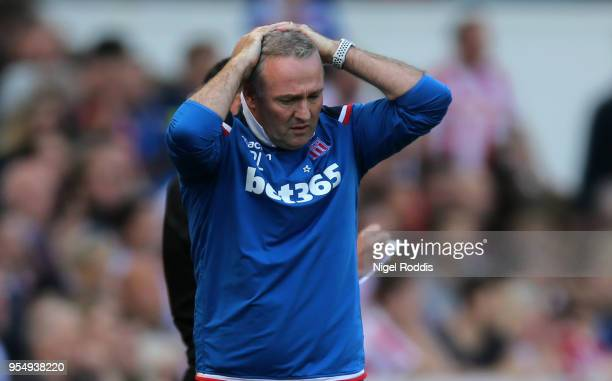 Paul Lambert Manager of Stoke City reacts during the Premier League match between Stoke City and Crystal Palace at Bet365 Stadium on May 5 2018 in...