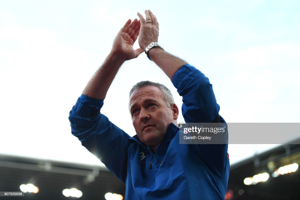 Paul Lambert, Manager of Stoke City shows appreciation to the fans prior to the Premier League match between Stoke City and Huddersfield Town at Bet365 Stadium on January 20, 2018 in Stoke on Trent, England.