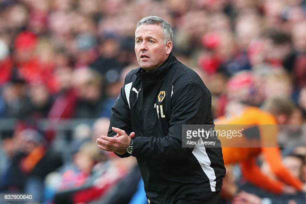 Paul Lambert manager of Wolverhampton Wanderers reacts during the Emirates FA Cup Fourth Round match between Liverpool and Wolverhampton Wanderers at...