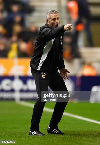 Paul Lambert manager of Wolves gives his team instructions during The Emirates FA Cup Fifth Round match between Wolverhampton Wanderers and Chelsea...
