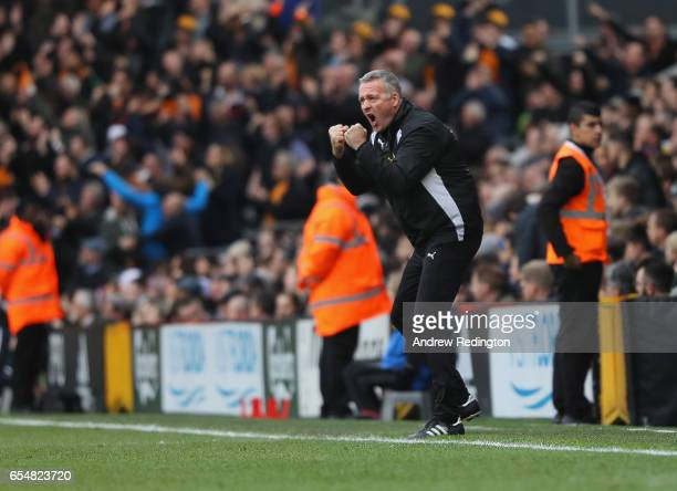 Paul Lambert manger of Wolverhampton Wanderers celebrates his side's third goal during the Sky Bet Championship match between Fulham and...