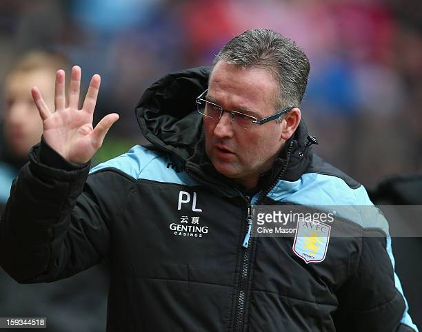 Paul Lambert of Aston Villa is seen before the Barclays Premier League match between Aston Villa and Southampton at Villa Park on January 12 2013 in...