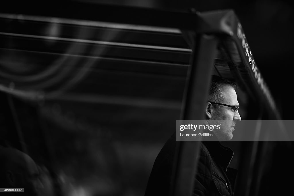 Paul Lambert of Aston Villa looks on during the Barclays Premier League match between Aston Villa and Chelsea at Villa Park on February 7, 2015 in Birmingham, England.