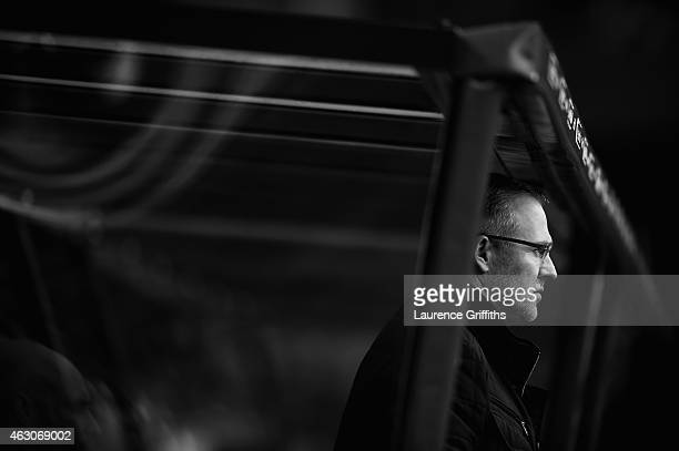 Paul Lambert of Aston Villa looks on during the Barclays Premier League match between Aston Villa and Chelsea at Villa Park on February 7 2015 in...