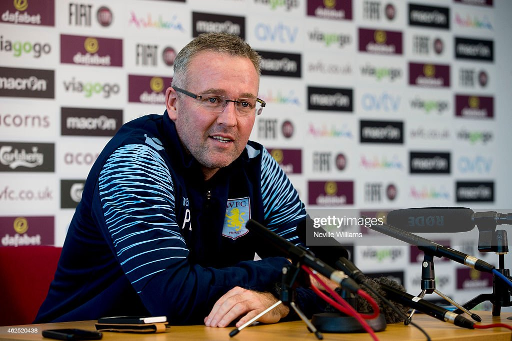 Paul Lambert of Aston Villa talks to the press at the club's training ground at Bodymoor Heath on January 30, 2015 in Birmingham, England.