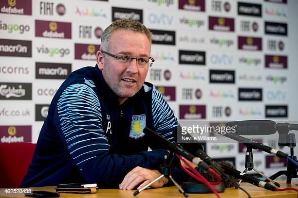 Paul Lambert of Aston Villa talks to the press at the club's training ground at Bodymoor Heath on January 30 2015 in Birmingham England