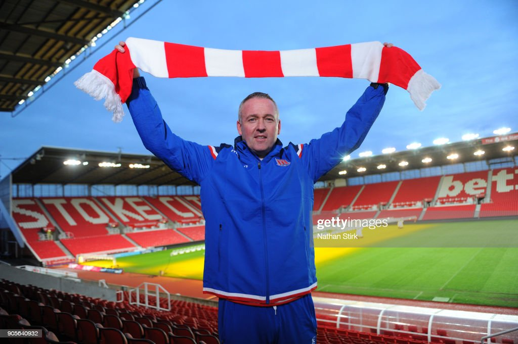 Paul Lambert poses for the media as he is officially unveiled as Stoke City new manager at Britannia Stadium on January 16, 2018 in Stoke on Trent, England.