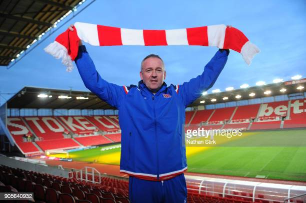 Paul Lambert poses for the media as he is officially unveiled as Stoke City new manager at Britannia Stadium on January 16 2018 in Stoke on Trent...