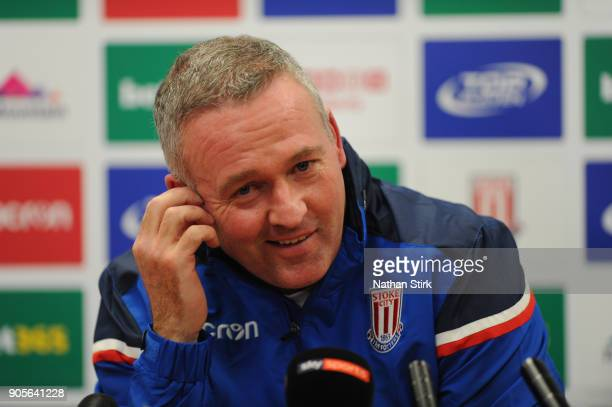 Paul Lambert talks to the media as he is officially unveiled as Stoke City new manager at Britannia Stadium on January 16 2018 in Stoke on Trent...