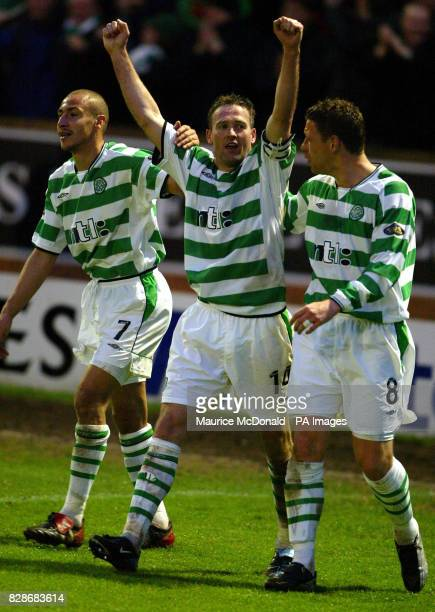 Paul Lambert with teammates Alan Thompson and Henrik Larsson after the fourth goal in the Scottish Premiere League match againat Motherwell at Fir...