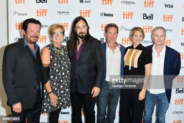 Paul Langlois Eleanor McMahon Rob Baker Gord Sinclair Melanie Joly and Johnny Fay of The Tragically Hip attend the 'Long Time Running' premiere...