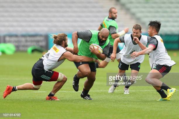 Paul Lasike in action during the Harlequins Training Session at Twickenham Stoop on August 22 2018 in London England