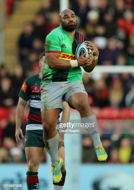 Paul Lasike of Harlequins catches the ball during the Gallagher Premiership Rugby match between Leicester Tigers and Harlequins at Welford Road...