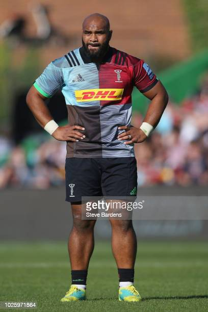 Paul Lasike of Harlequins during the Gallagher Premiership Rugby match between Harlequins and Sale Sharks at Twickenham Stoop on September 1 2018 in...