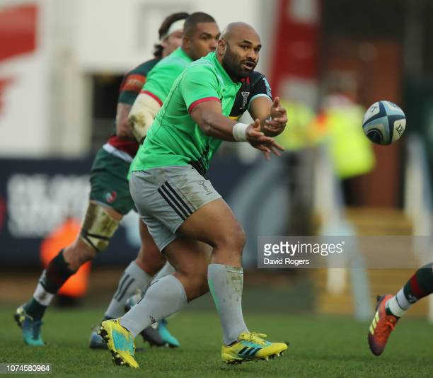 Paul Lasike of Harlequins passes the ball during the Gallagher Premiership Rugby match between Leicester Tigers and Harlequins at Welford Road...