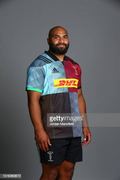 Paul Lasike of Harlequins poses for a portrait during the Harlequins squad photo call for the 201819 Gallagher Premiership Rugby season on August 13...