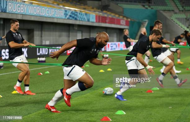 Paul Lasike of the USA warms up during the USA training session held at Kobe Misaki Stadium on September 25 2019 in Kobe Japan