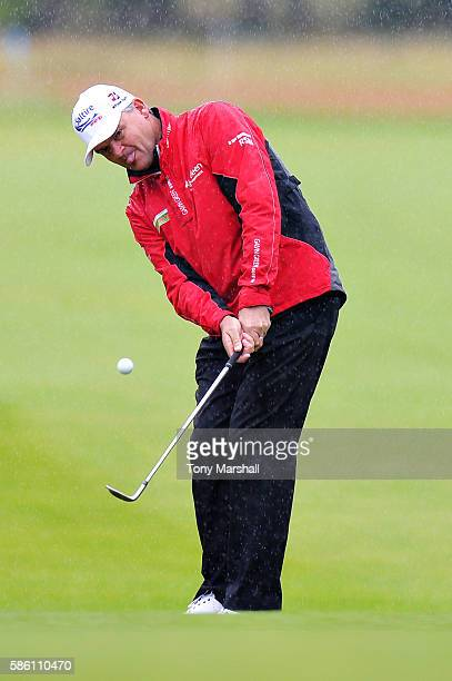 Paul Lawrie of Scotland chips onto the green at hole 1 on day two of the Aberdeen Asset Management Paul Lawrie Matchplay at Archerfield Links Golf...
