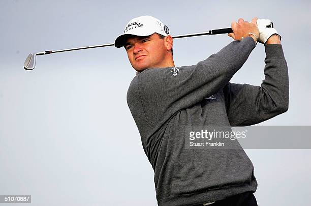 Paul Lawrie of Scotland hits his tee shot on the 4th hole during the first round of the 133rd Open Championship at the Royal Troon Golf Club on July...