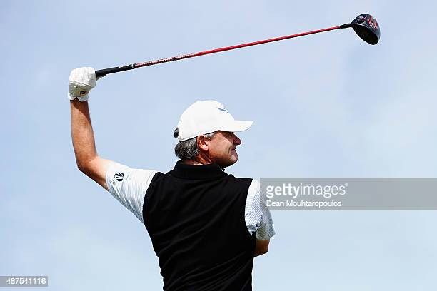 Paul Lawrie of Scotland hits his tee shot on the 5th hole during Day 1 of the KLM Open held at Kennemer G & CC on September 10, 2015 in Zandvoort,...