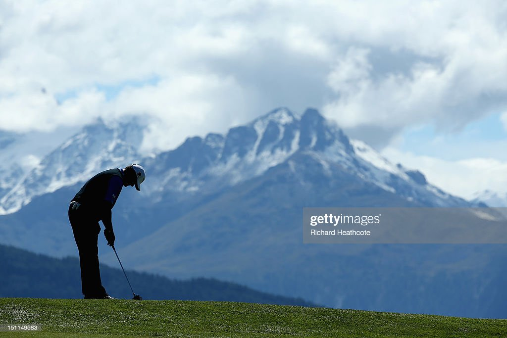 Paul Lawrie of Scotland in action during the final round of the Omega European Masters at Crans-sur-Sierre Golf Club on September 2, 2012 in Crans, Switzerland.