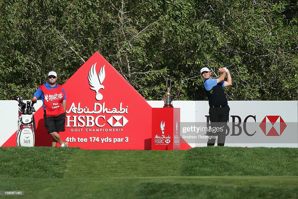 Paul Lawrie of Scotland in action during the Pro Am prior to the start of The Abu Dhabi HSBC Golf Championship at Abu Dhabi Golf Club on January 16, 2013 in Abu Dhabi, United Arab Emirates.