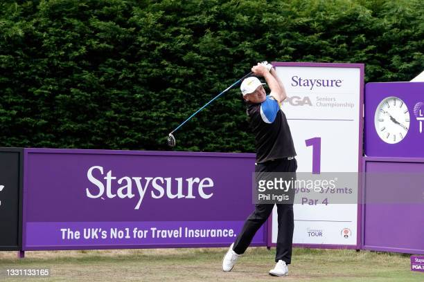 Paul Lawrie of Scotland in action during the ProAm ahead of the Staysure PGA Seniors Championship at Formby Golf Club on July 28, 2021 in Formby,...