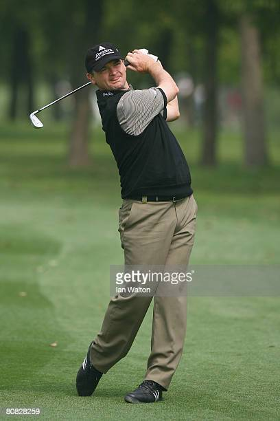 Paul Lawrie of Scotland in action during the Pro-Am round of the BMW Asian Open at the Tomson Shanghai Pudong Golf Club on April 23, 2008 in...