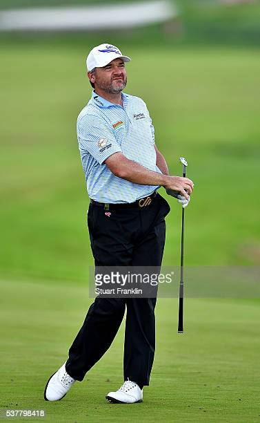 Paul Lawrie of Scotland in action during the second round on day two of the Nordea Masters at Bro Hof Slott Golf Club on June 3, 2016 in Stockholm,...