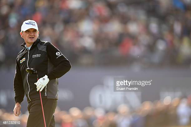 Paul Lawrie of Scotland look on from the 18th hole during the second round of the 144th Open Championship at The Old Course on July 18 2015 in St...
