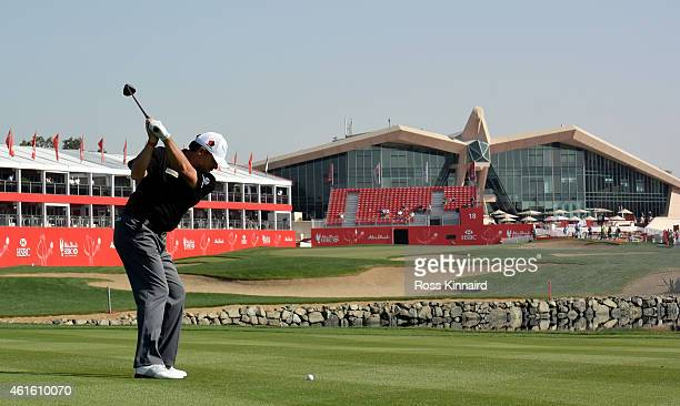 Paul Lawrie of Scotland on the 18th hole during the second round of the Abu Dhabi HSBC Golf Championship at the Abu Dhabi Golf Club on January 16...