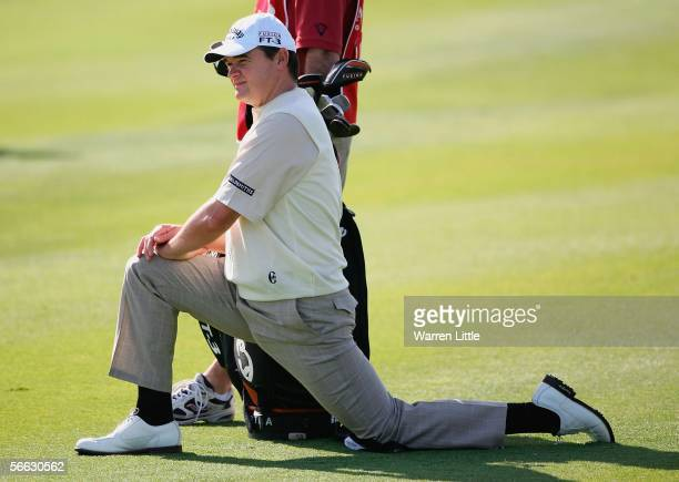Paul Lawrie of Scotland stretches on the 18th fairway during the second round of the Abu Dhabi Golf Championship on the National Course at Abu Dhabi...